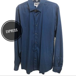 Express Navy Button-Down Fitted Dress Shirt NWOT